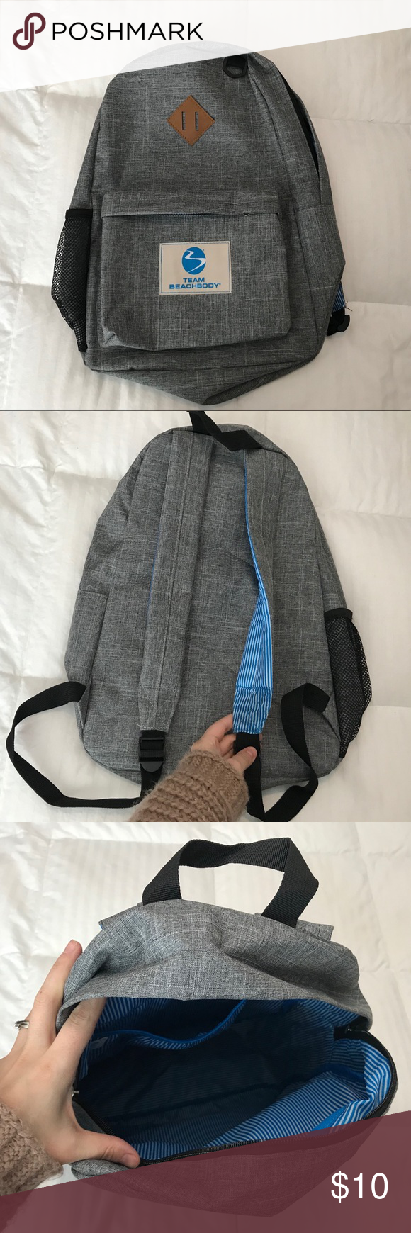 628eae43d30 Team Beachbody Backpack Canvas backpack in perfect condition! Used for a  weekend. Insides had a cute white and blue striped pattern.