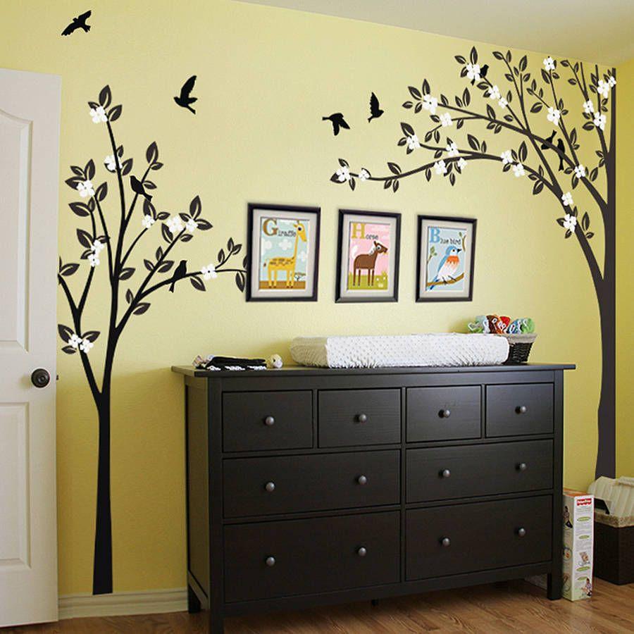 Trees with flying birds wall sticker habitaciones ni a for Stickers habitacion nina