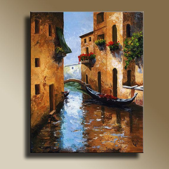 Canvas print of original acrylic painting venice wall hanging decorative art
