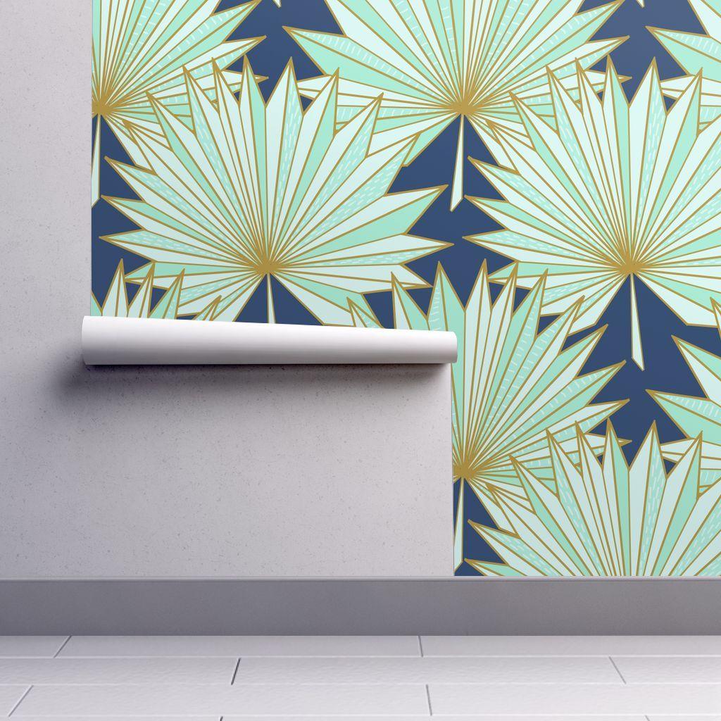 PeelandStick Removable Wallpaper Art Deco Palm Navy And