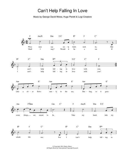ub40 'can't help falling in love' sheet music and printable pdf music notes    sheet music, piano sheet music free, cant help falling in love  www.pinterest.ph