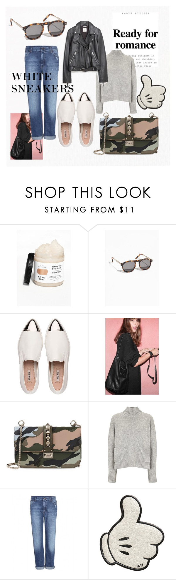"""""""HELLO THERE SPRING"""" by notusing ❤ liked on Polyvore featuring Miu Miu, Valentino, Frame Denim, McQ by Alexander McQueen, Anya Hindmarch, Zara and whitesneakers"""