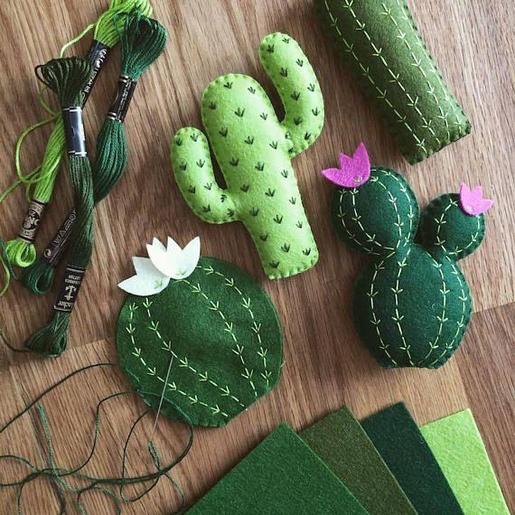 Mixed Cactus Garland, Cactus Banner, Succulents, Saguaro, Felt Cacti, Cactus Nursery, Cactus Decor, Adventure, Office Decor, Fiesta Party