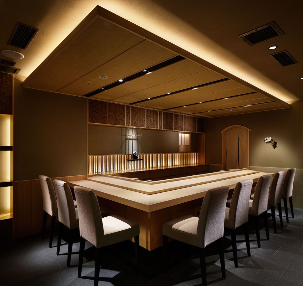 Dropped ceiling with cove light sushi spot pinterest