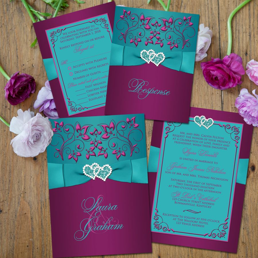 wedding invitation | teal, plum, magenta floral | printed ribbon, Wedding invitations