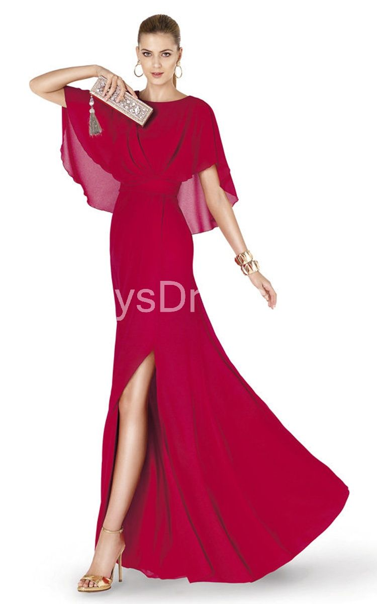 Magnificent batwing long gown with band and front slit fashion
