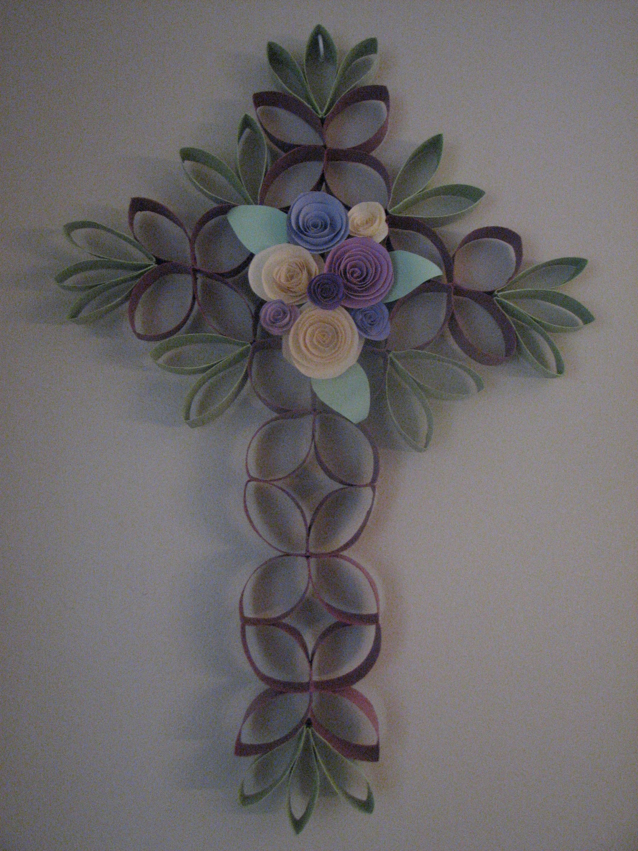 Cross of flowers made from toilet paper rolls lots of fun to make paper crafts easter cross mightylinksfo Choice Image