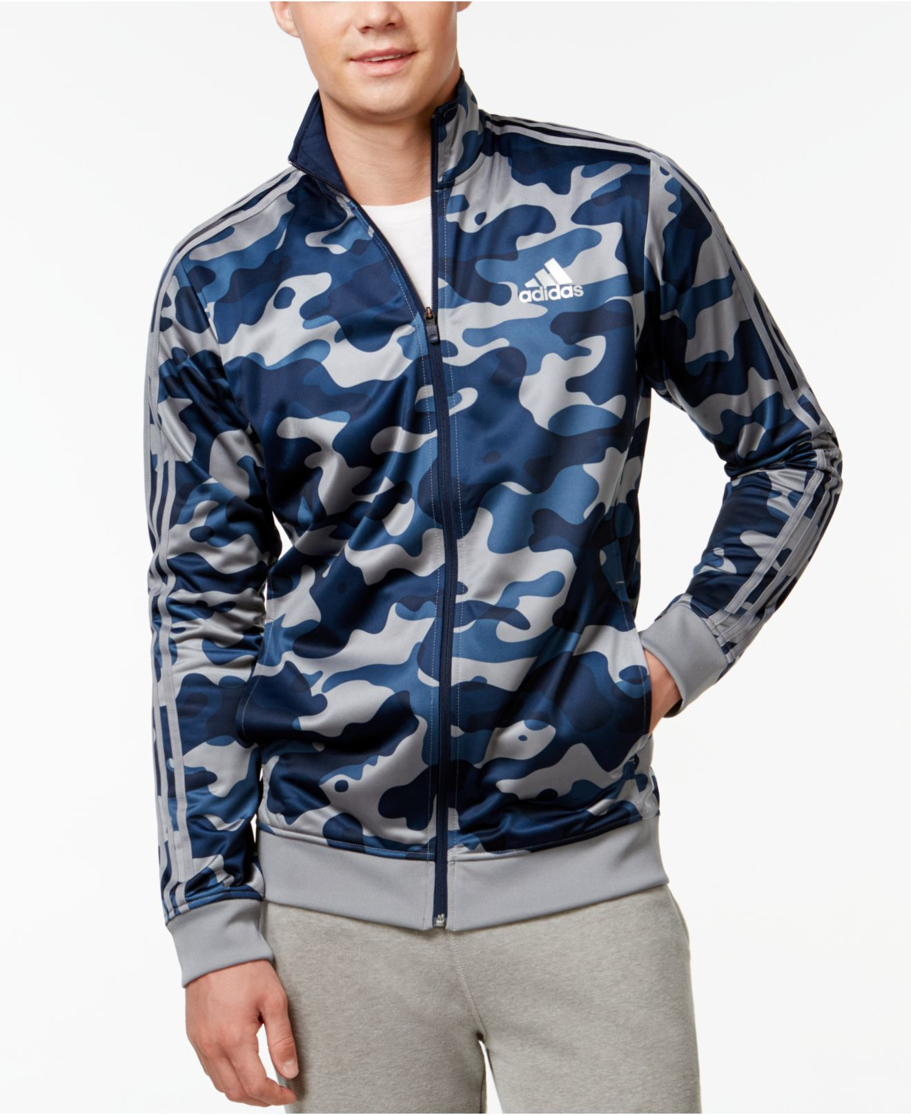 792f7a6832ee Adidas Men s Camo Print Track Jacket in Blue for Men (Navy Grey ...