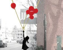 Black and red plexiglass (perspex) necklace, Girl with balloons, laser cut jewelry