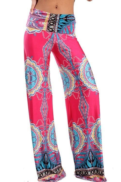 PINK BLUE TRIBAL WIDE LEG BELL BOTTOM YOGA FOLD OVER WAIST PALAZZO PANTS S M L   #AllAboutTheGirl #CasualPants