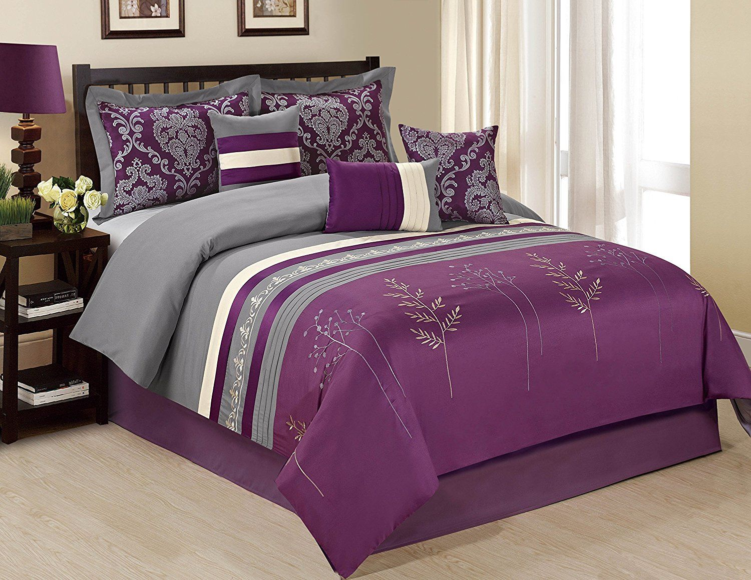 Pink Red Purple Black Green Beige Bedding Sets Grey Comforter