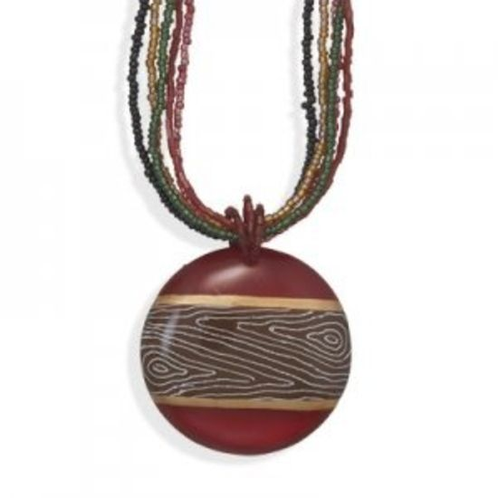 Glass Bead Necklace With Hand Painted Pendant