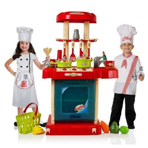 Toy Set Kitchen Electronic Kids Fun Chef Cookware Portable Oven Play Food Toysetkitchen