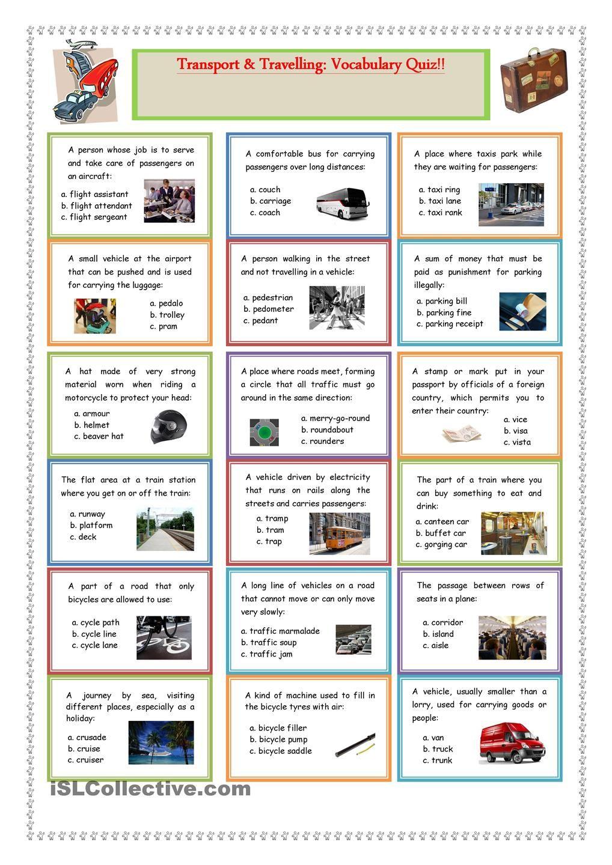 worksheet Esl Advanced Vocabulary Worksheets transport and travelling vocabulary quiz esl 2 pinterest worksheet free printable worksheets made by teachers