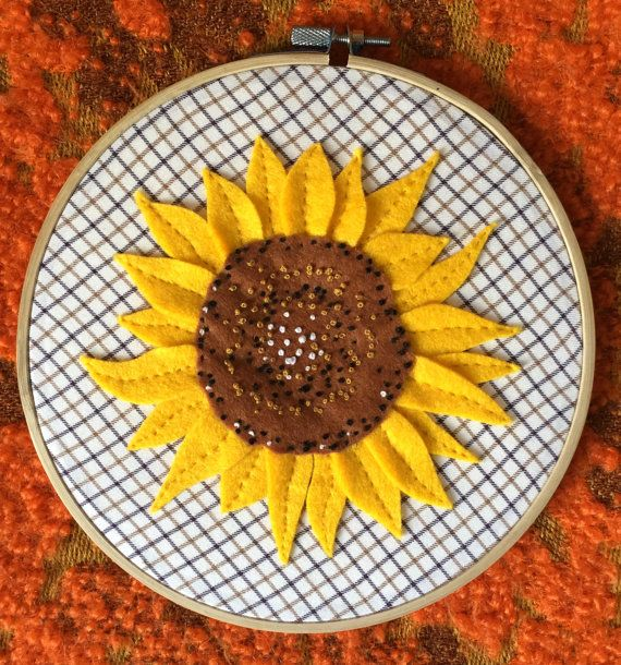 Sunny Sunflower Embroidery Hoop- Just £14 with FREE uk postage!
