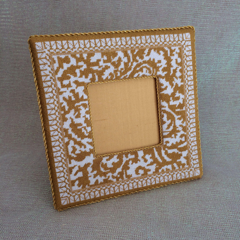Gold and white needlepoint frame finishing | Needlepoint Shop ...