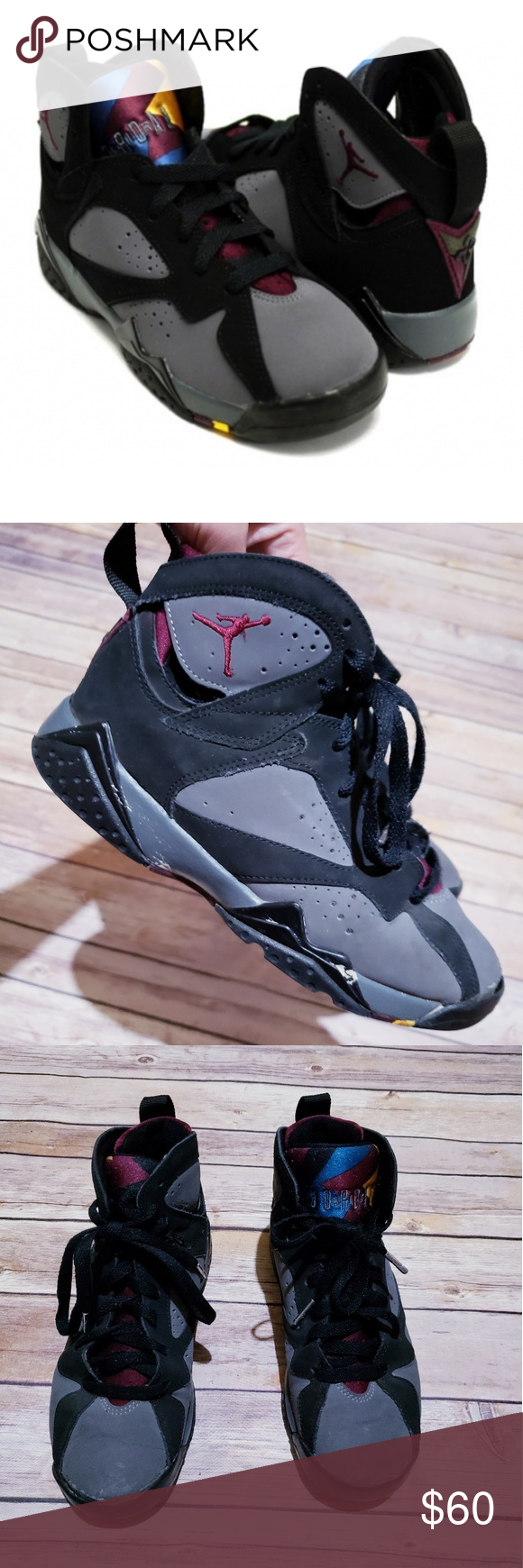 6c4e6668bdf0 Air Jordan retro 7 Bordeaux hightop sneakers 4.5y❤ These sneakers are  preloved- see pictures Youth size 4.5 high top black and grey air jordan  retro 7 ...