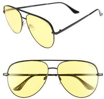 36a15288f8   Women s Quay Australia X Desi Perkins Sahara 60Mm Aviator Sunglasses -  Black yellow