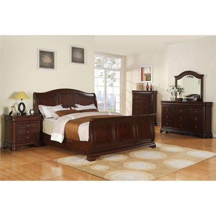 Cameron 4Piece King Bedroom Set in Dark Cherry Nebraska