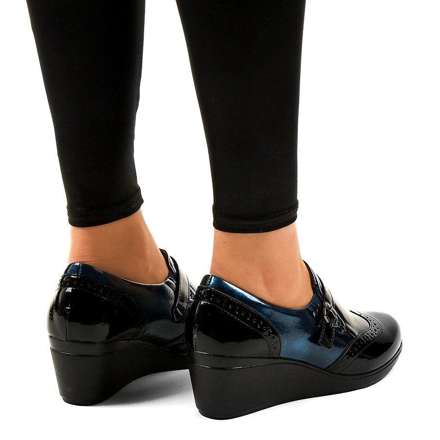 Czarne Polbuty Na Koturnie 7 9021 Granatowe Oxford Shoes Womens Oxfords Shoes