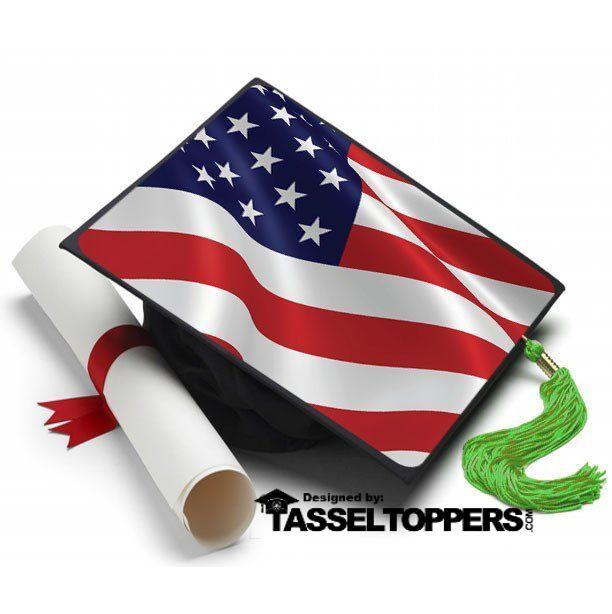 Graduation Cap Topper American Flag Tassel Topper