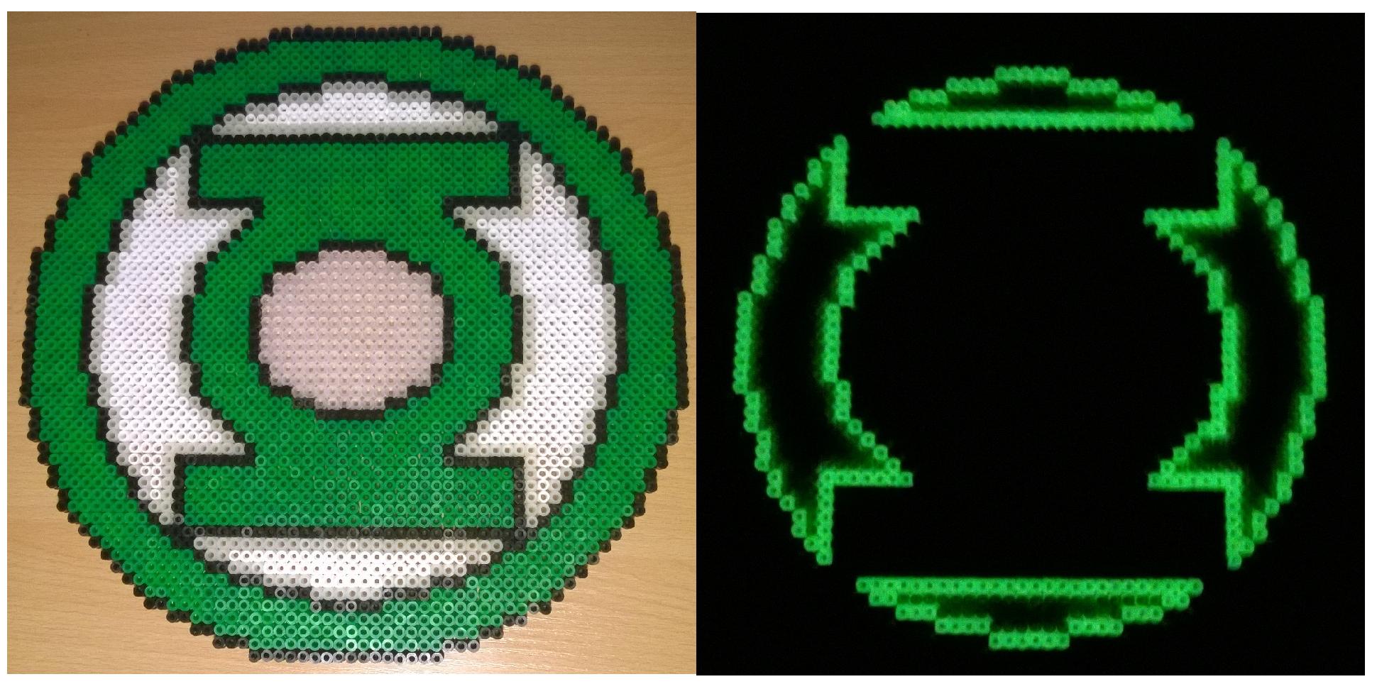 Green Lantern Glowing Logo Perler Beads By Ouatsavior Bead Art Perler Beads Green Bead
