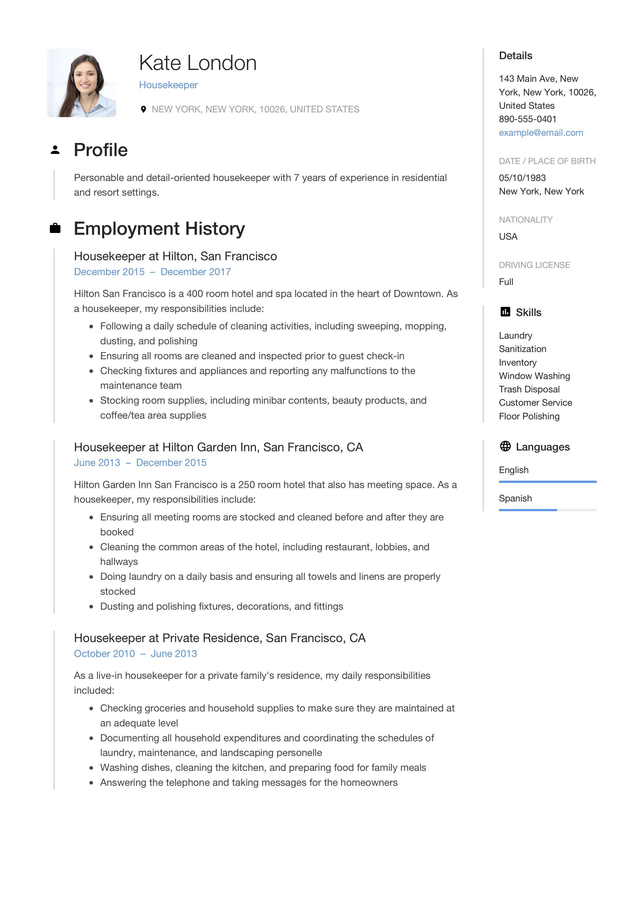 Housekeeper resume template in 2020 resume guide resume