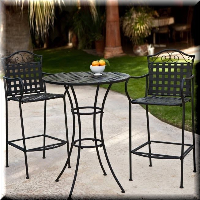 Patio Bistro Set 3 Piece Outdoor Garden Furniture High Round Table