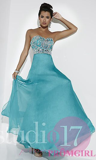 Strapless Sweetheart Floor Length Prom Dress by Studio 17 at PromGirl.com