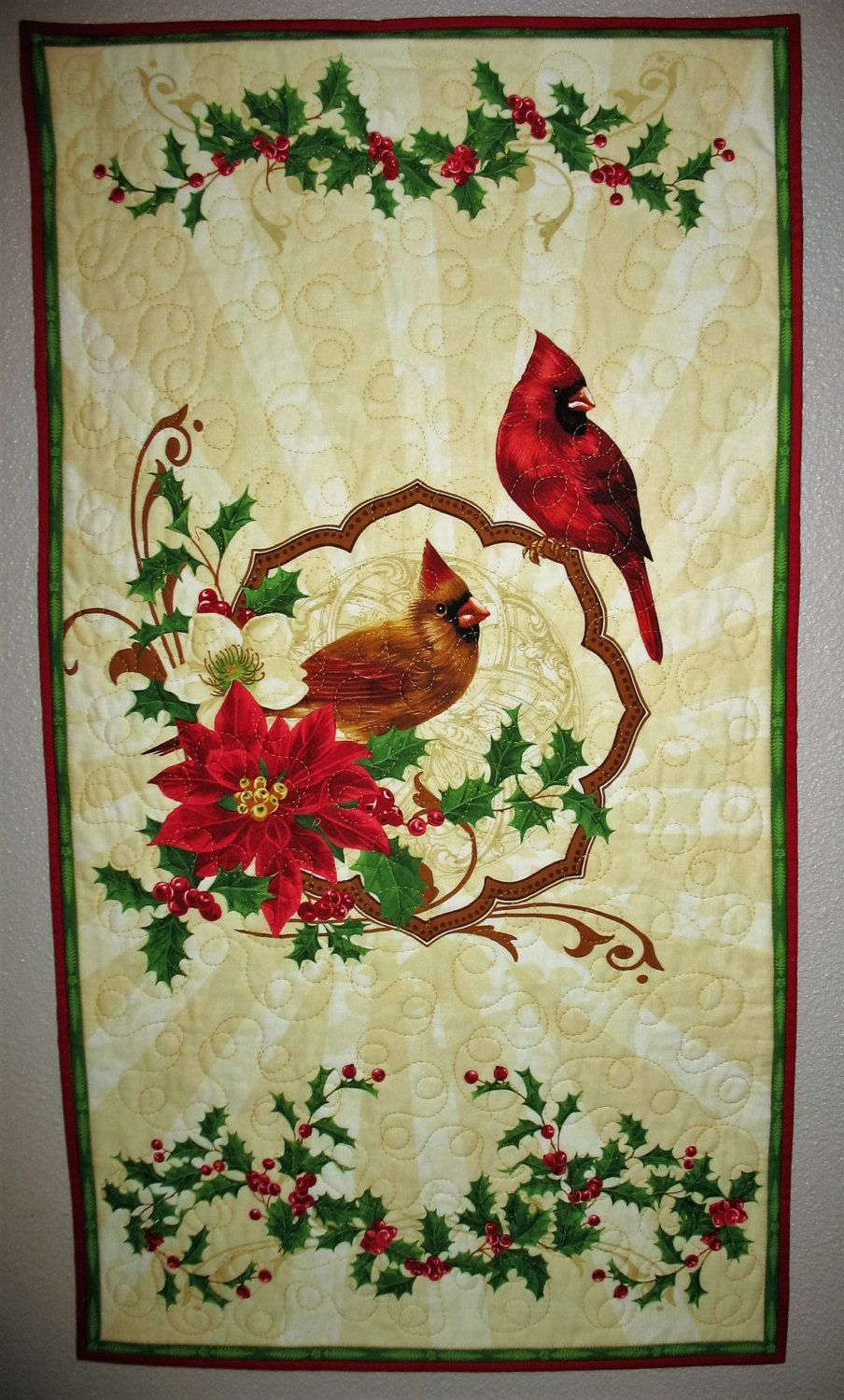 Christmas Wall Hanging or Table Topper, quilted,Birds and Holly ...