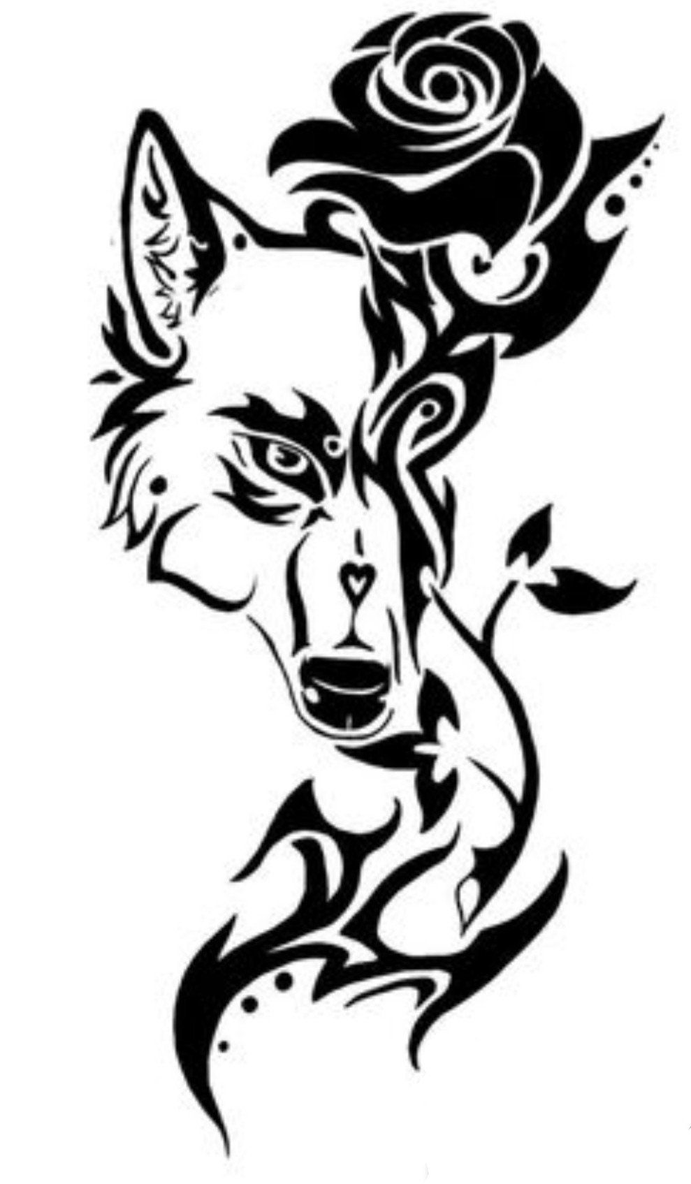 Tribal wolf with rose wall or window