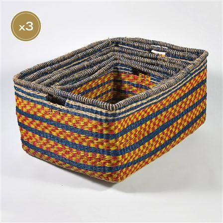 Captivating Chairworks Zulu Medium Rectangular Storage Baskets, Set Of 3 Design