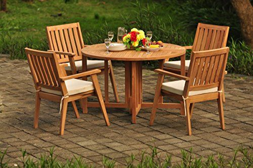 Teakstation 4 Seater Gradea Teak Wood 5 Pc Dining Set 48 Round