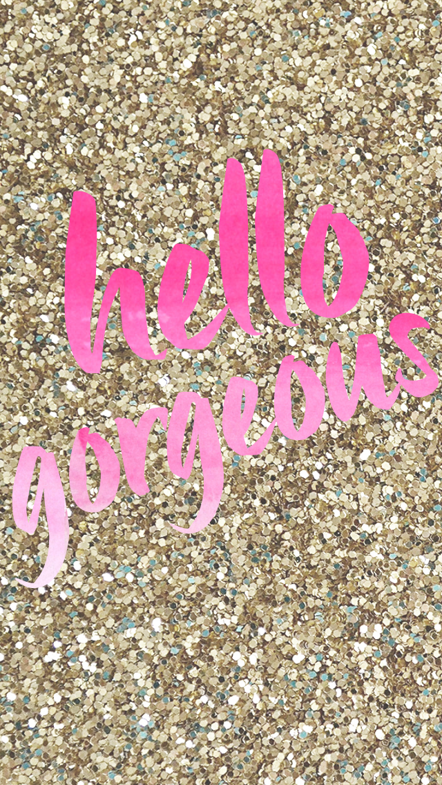 Gold pink hello iphone phone background wallpaper