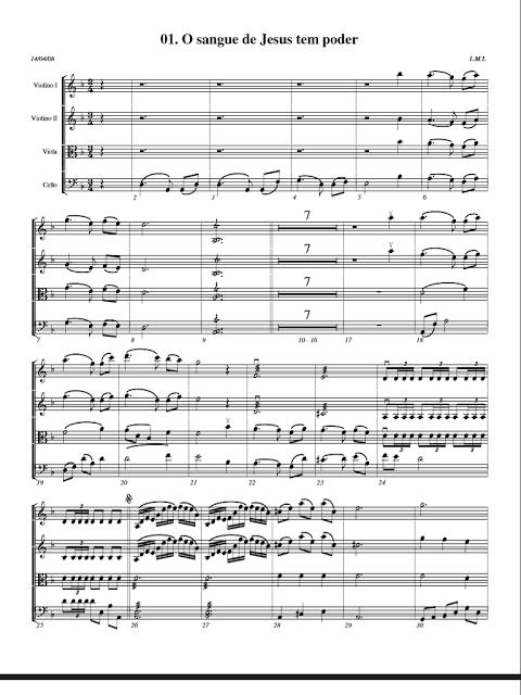 Violinos ICM: Partitura 0001-O sangue de Jesus tem poder, Cordas.