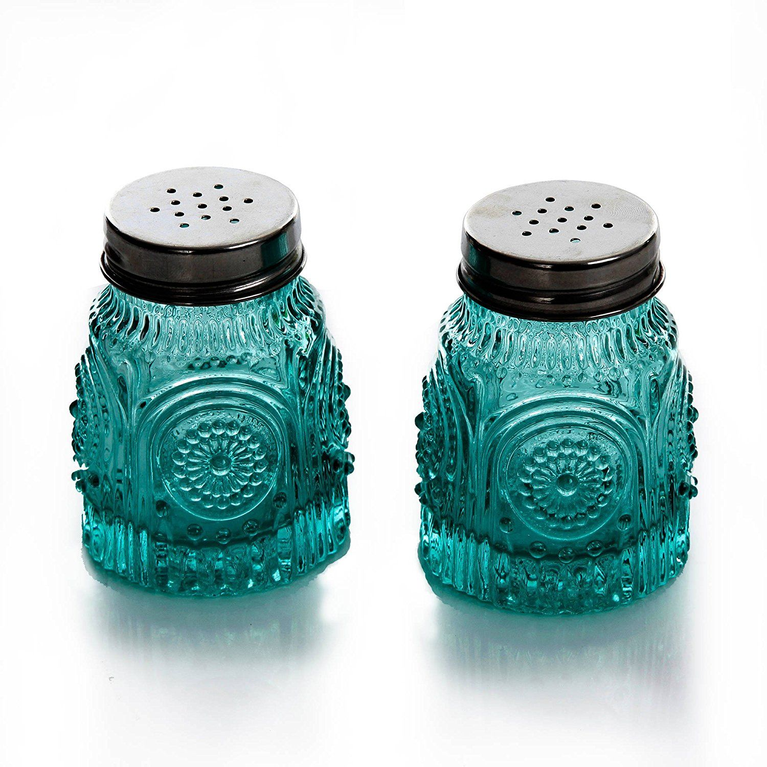 Amazon.com: The Pioneer Woman Adeline Teal Pressed Glass Salt and ...