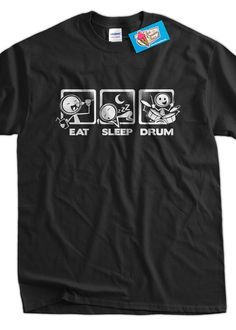 Funny Drums T-shirt Drummer Drumming Eat Sleep Drum T-shirt V4 Gifts for Dad Screen Printed T-Shirt Tee Shirt Mens Ladies Womens Youth Kids