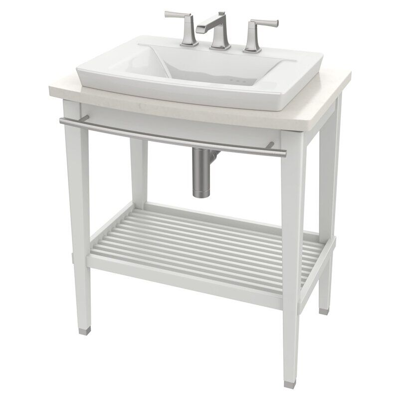 Townsend Ceramic Rectangular Console Bathroom Sink With Overflow