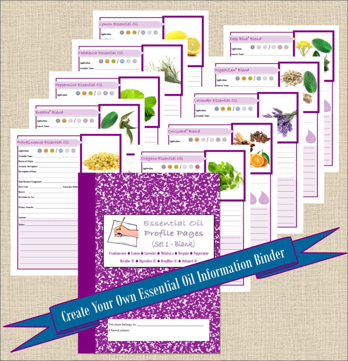 Doterra Blank Top Essential Oil Book Planner Pages