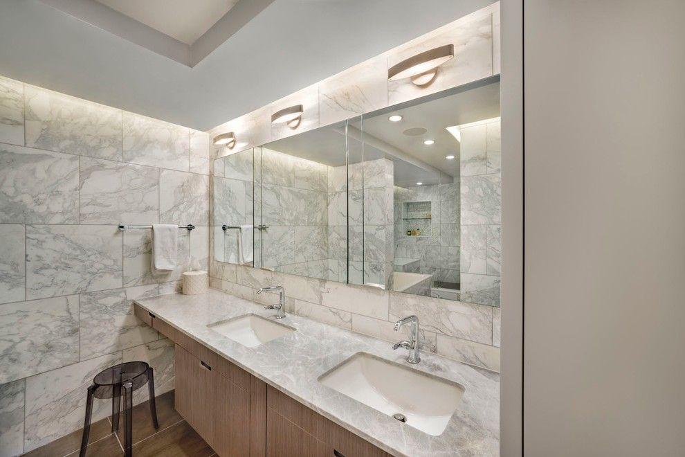 Pleasing Marble Top Nightstand With Gray Counter Medicine Cabinet Mirror Classic Bathroom Tile Bathroom Bathroom Floor Tiles