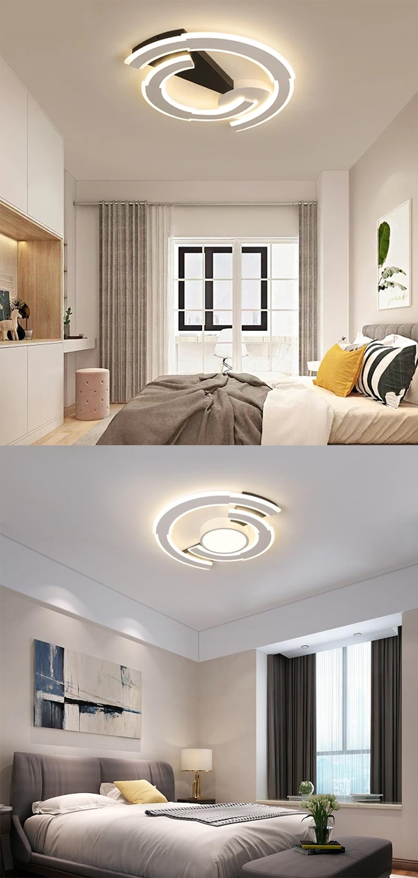 Black And White Round Modern Led Ceiling Lights For