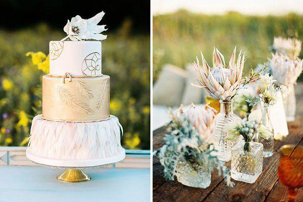 white and gold wedding cake for Southwestern wedding with boho vibe
