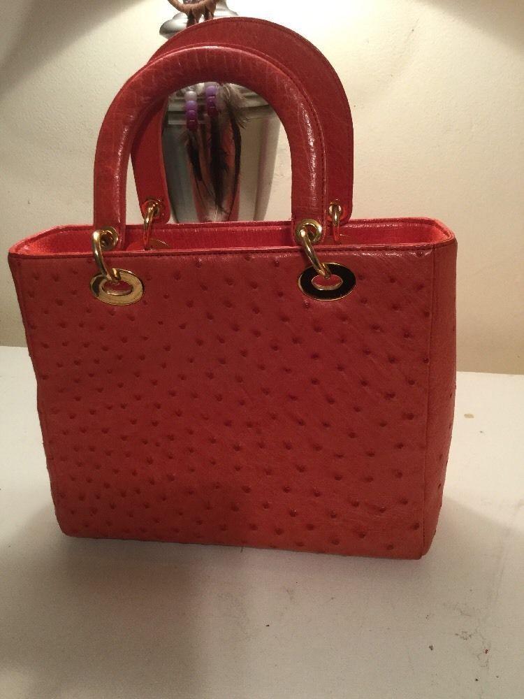 30139b77a2d Coral Colored Ostrich Handbag   eBay   bags   Pinterest   Coral ...