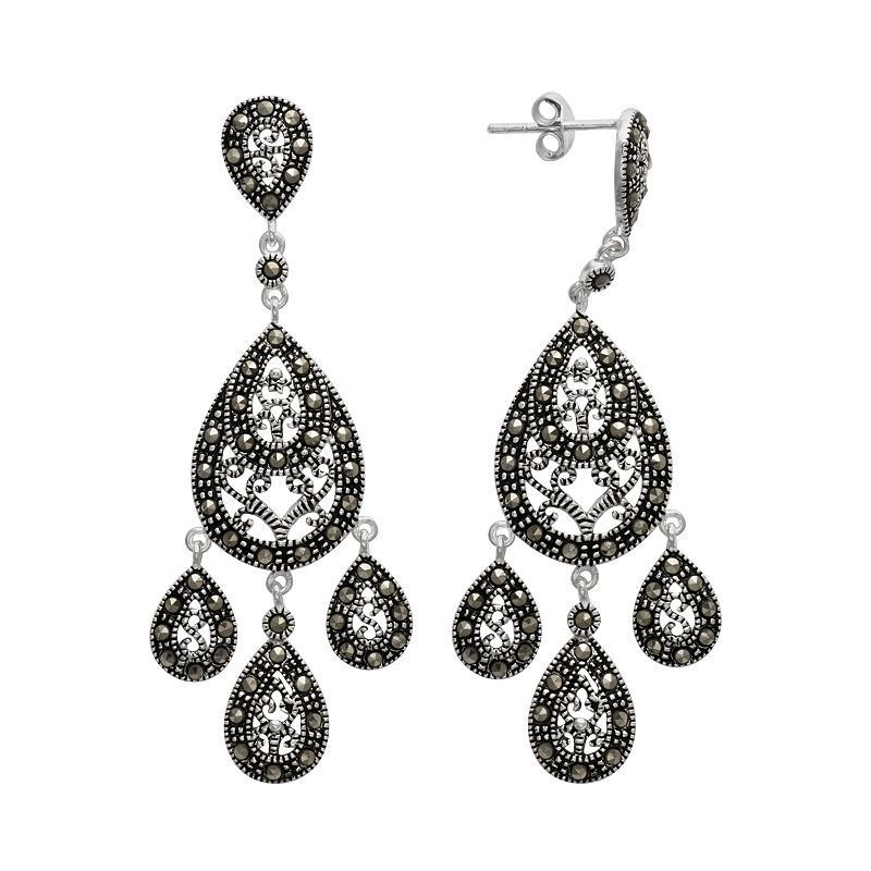 0ffc6a412 Le Vieux Marcasite Silver-Plated Chandelier Earrings - Made with Swarovski  Marcasite, Women's, Black