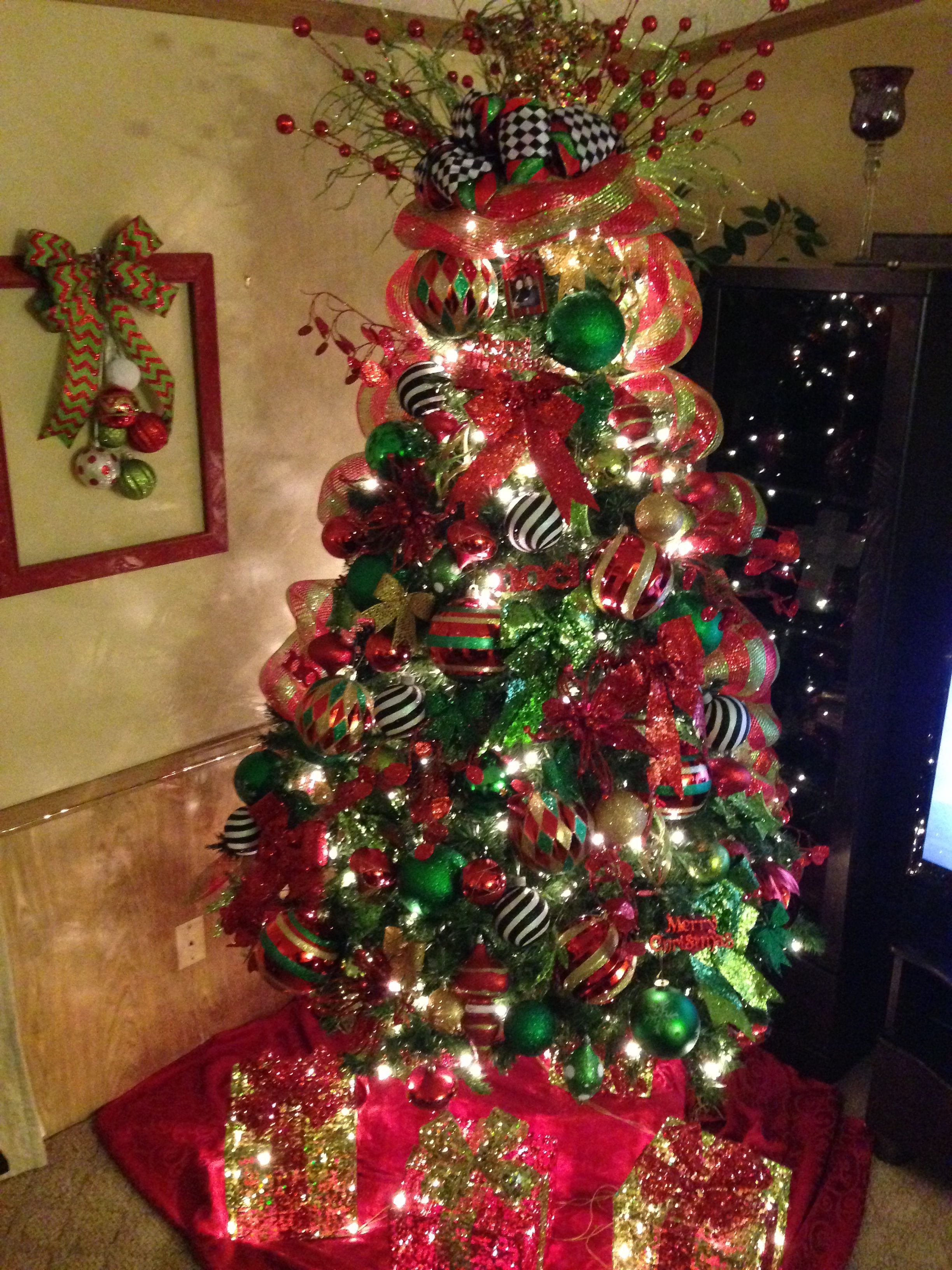 My Red And Green Christmas Tree With A Pop Of Black And White Merry Christmas Baby Holiday Christmas Tree Green Christmas Tree