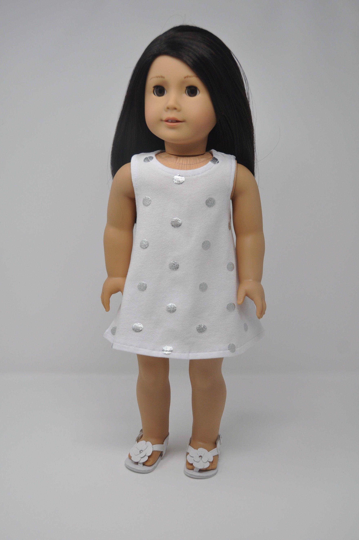 """White /& Black Polka Dot Sleeveless Dress for 18/"""" American Girl Doll Clothes"""