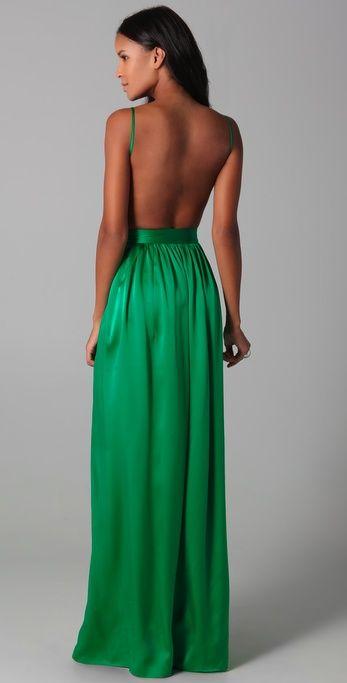 Backless dress + kelly green + beautiful skin= all my favorite ...