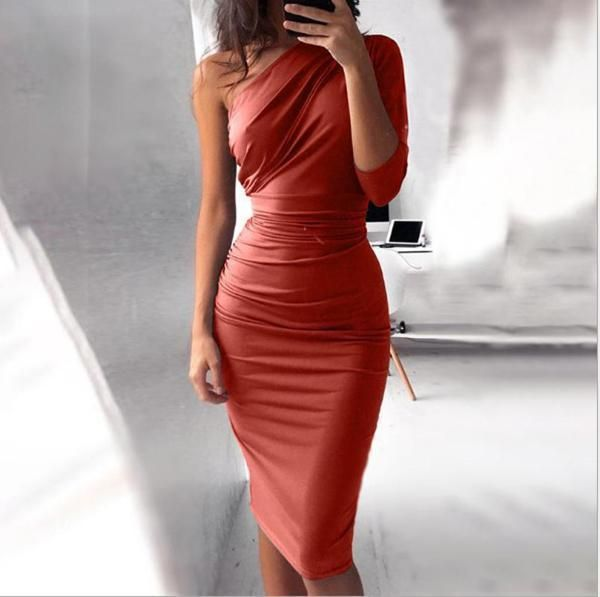 Gift Day Sexy Slanted Shoulder Bodycon Dress - Tight prom dresses, Bodycon dress, Tight dresses, Fashion, Dresses, Beauty dress -  Fashion Gender Women SIZE CHART     Size Chart Bust Length Waist H