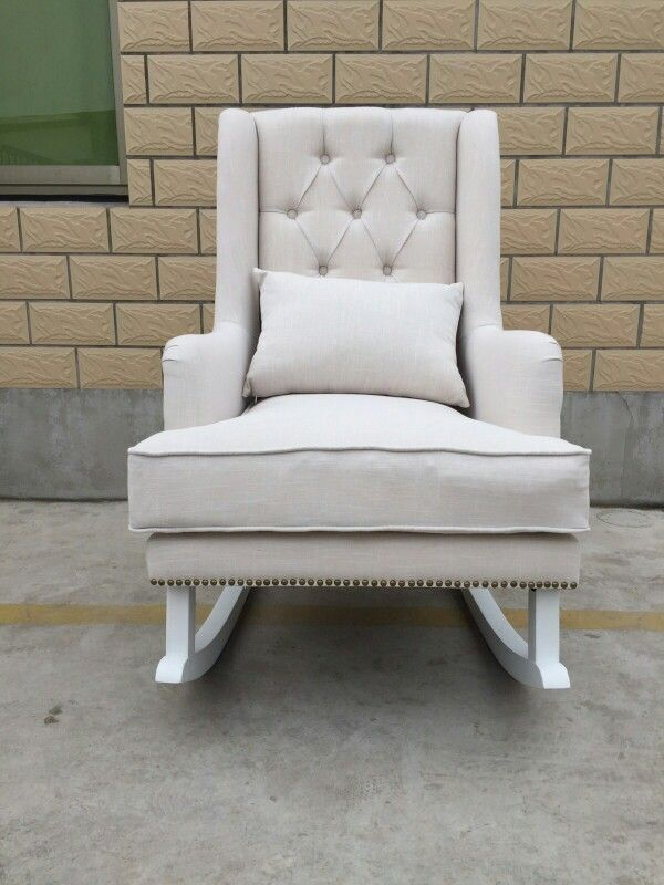 White On White Linen Tufted Rocking Chair