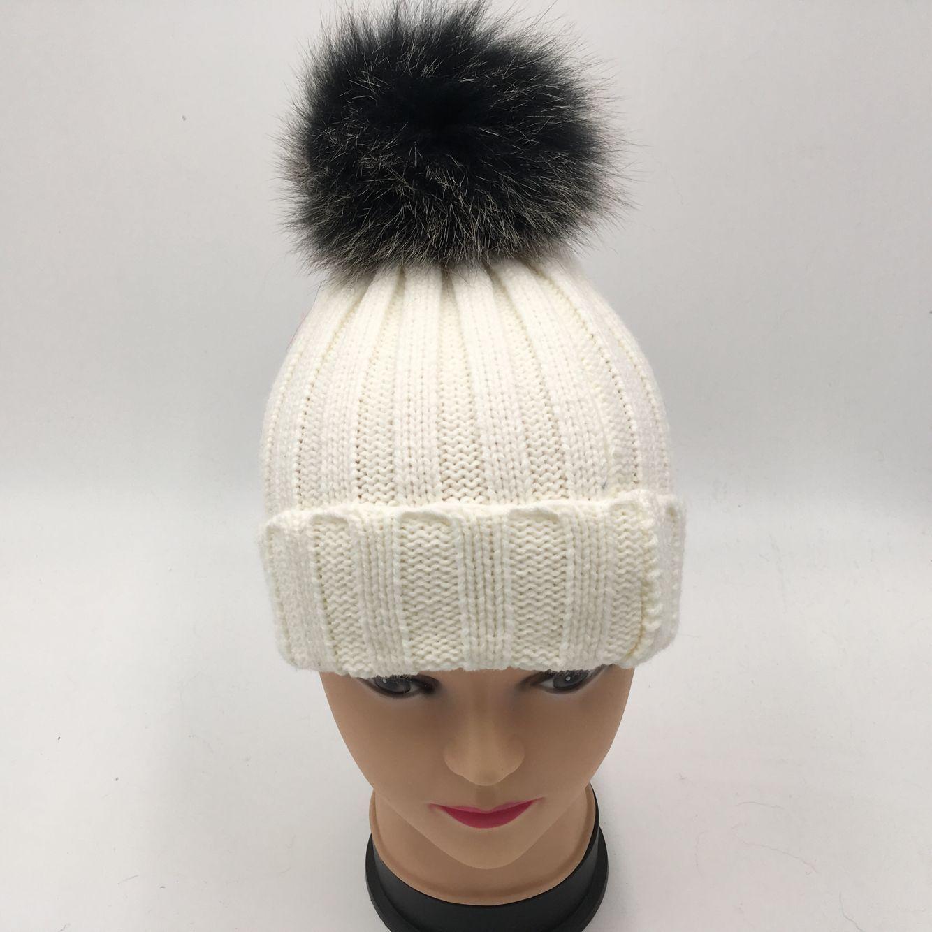 e9b59078b real black frost fox fur pompom children winter hat warm knit mink ...